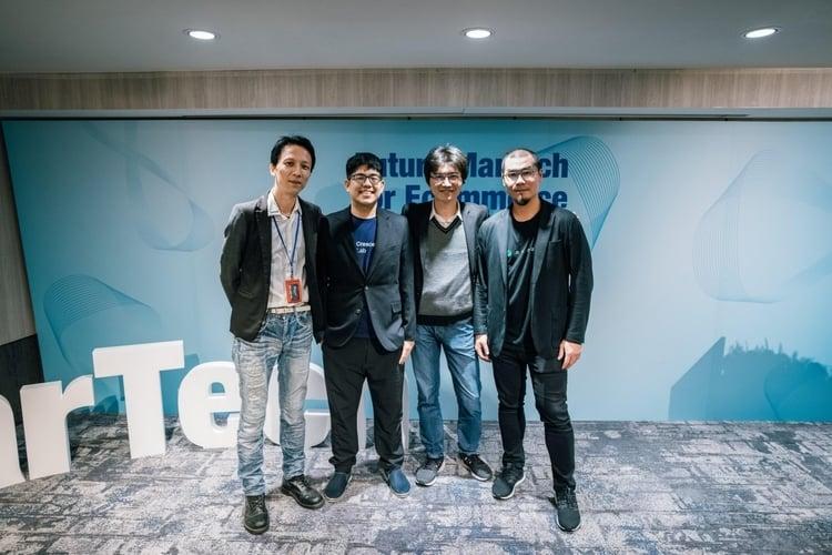 (由左至右)CloudAD 總經理古明和、漸強實驗室執行長薛覲、iKala 共同創辦人鄭鎧尹、awoo 創辦人林思吾。